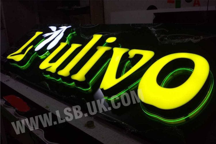 3D Letters aluminium return acrylic face with internal led and light fluorescent acrylic border