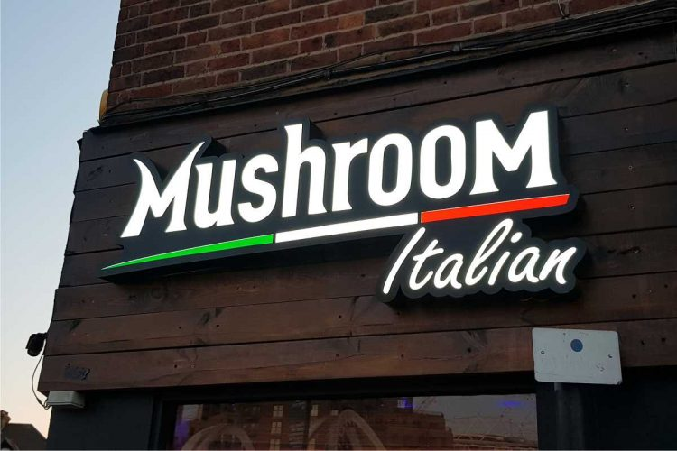 Mushroom wood sign board