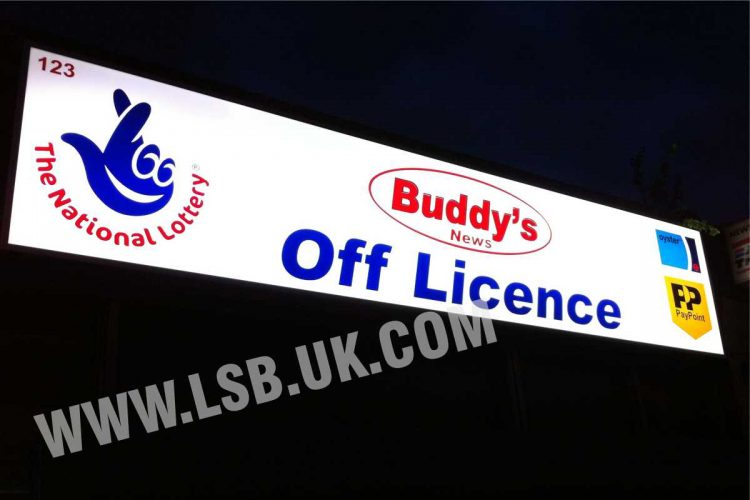 Outdoor light box sign supermarket offlicence