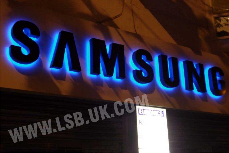 P halo effect illuminated aluminium 3d letters samsung sign