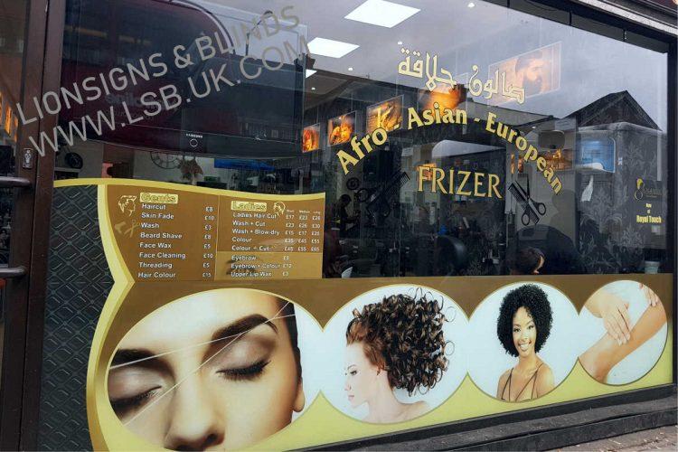 barber beauty salon window graphic