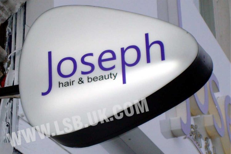 bespoke double sided hanging projecting sign with internal light