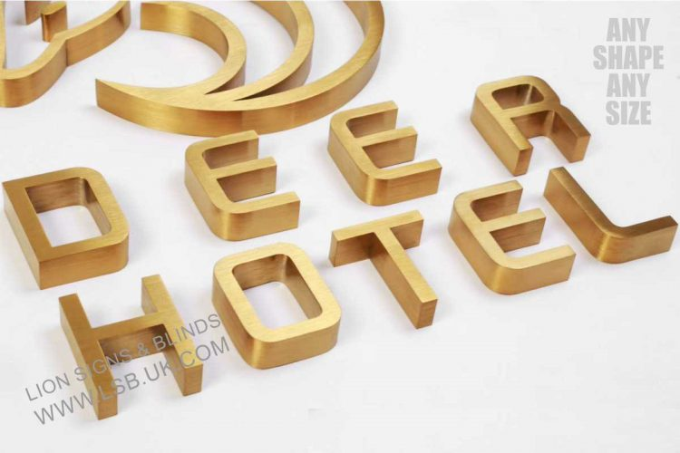 brushed gold illuminated letters