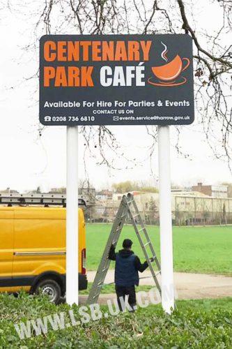 cafe park totem sign