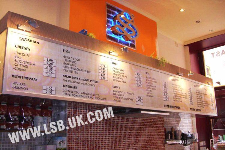 cafe wall food menu