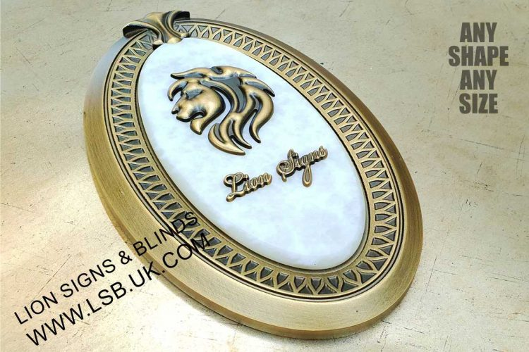 carved aluminium and marble effect wall plaque