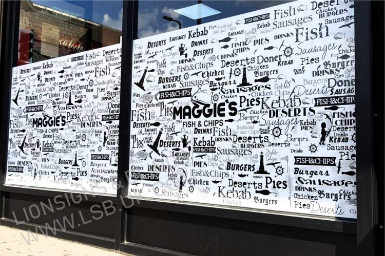 fish and chips window graphic