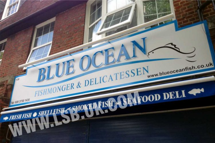 flat cut letters fishmonger sign board