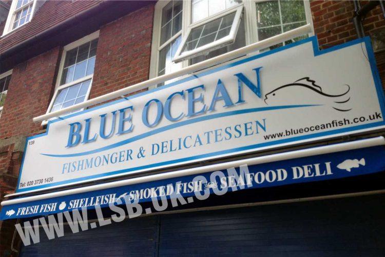 flat cut letters fishmonger sign board