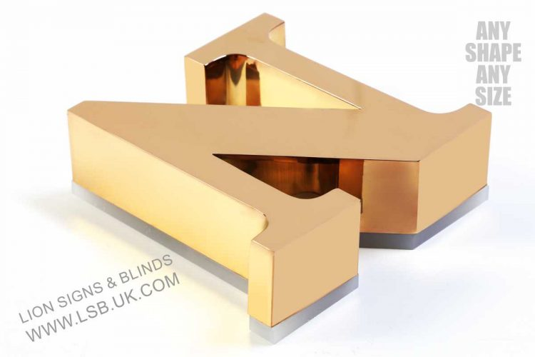 gold polished mirror illuminated 3d letters