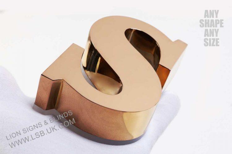 gold polished mirror illuminated letter