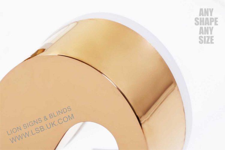 gold polished mirror illuminated letters