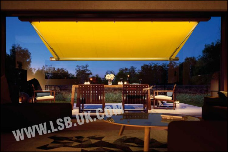 house blinds awning with spotlight