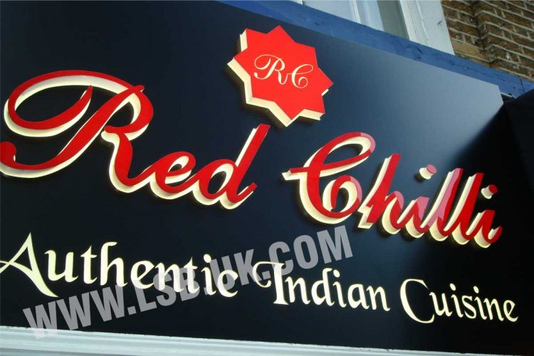 illuminated acrylic red built up letters signs board