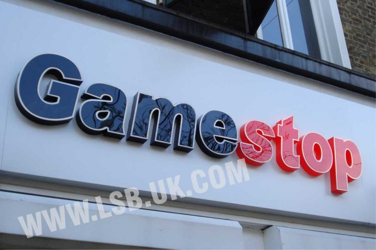 illuminated acrylic with white border built up letters signs board