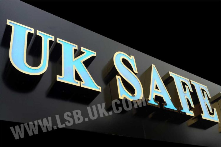 illuminated gold stainless steel letter with internal led light