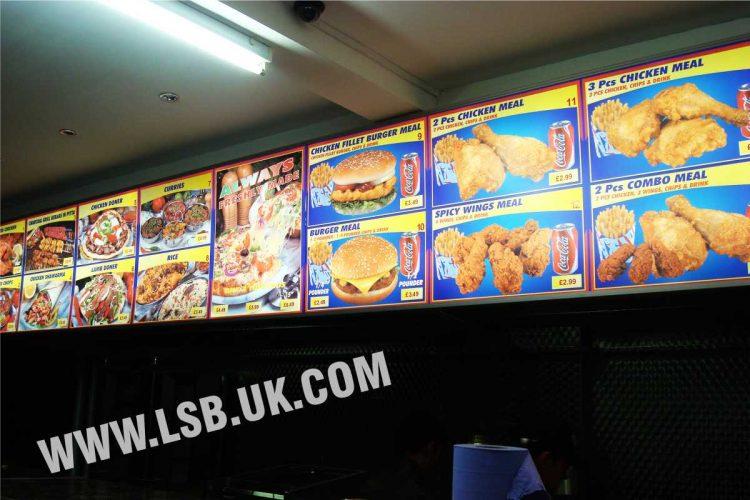 illuminated printed food menu