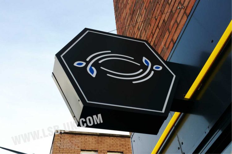 Stencil cut illuminated double sided  restaurant logo sign