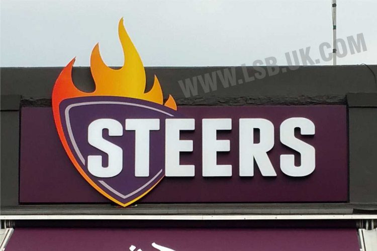 Large illuminated 3D  letters and logo for Burger Restaurants Sign
