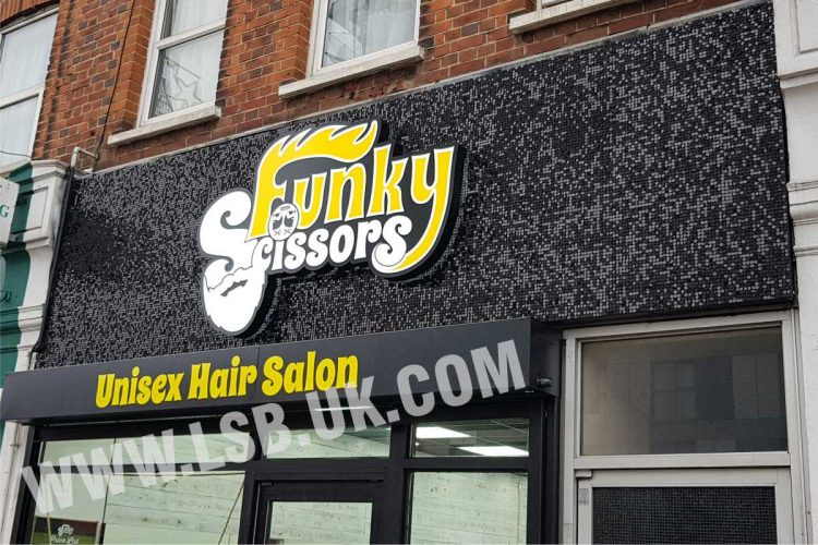 Shimmer  background  with illuminated logo barber sign board