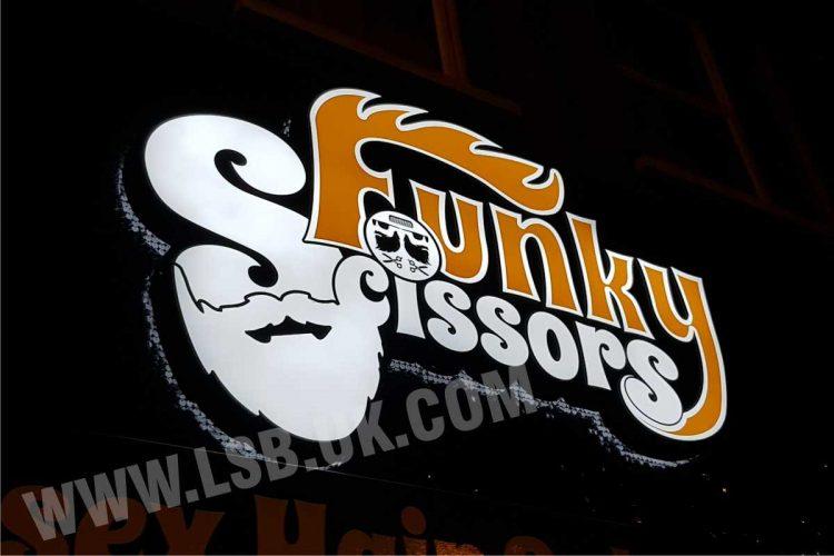 shimmer sign illuminated logo barber sign