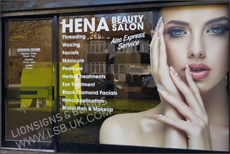 shopfront beauty salon glass sign